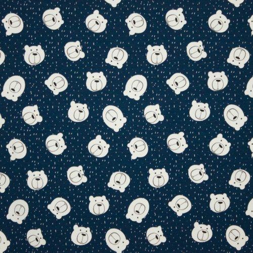 Sweaterstof in donkerblauw met beertjes