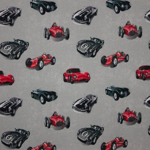 Zachte sweaterstof in licht grijs met stoere auto's
