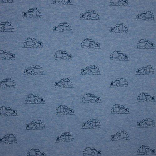 French terry in licht blauw met auto motiefjes