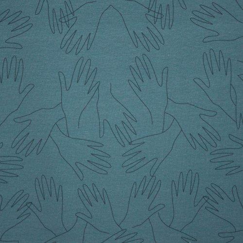 French terry in blauw met handen van Lotte Martens