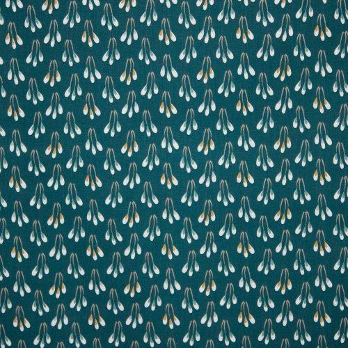 katoen in groen met bloemprint