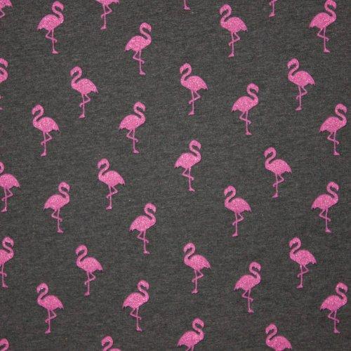 Lichte french terry in donker griijs met roze glitterflamingo