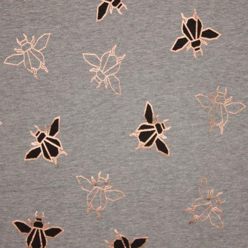 Lichte sweaterstof in grijs met kevertjes