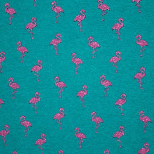 Lichte french terry in groen met roze flamingo's