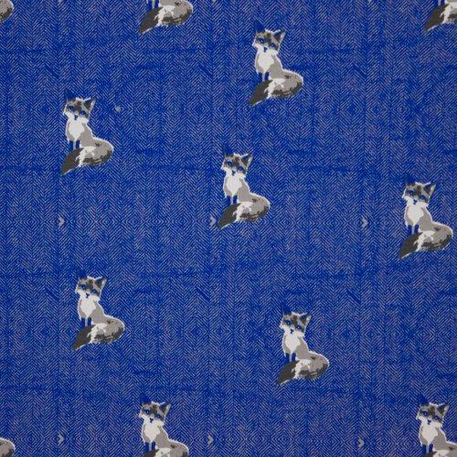 Sweaterstof in blauw visgraadmotief met vosjes