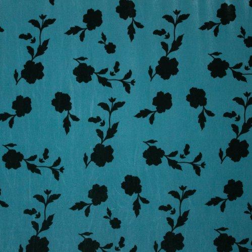 Stretch velours/fluweel in blauw met bladmotief
