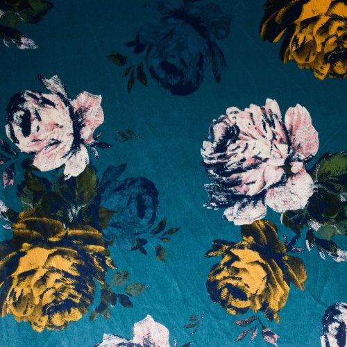 Stretch Fluweel/velours met grote bloemen