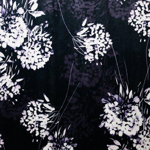 Stretch fluweel/velours in diep donkerblauw met bloemen