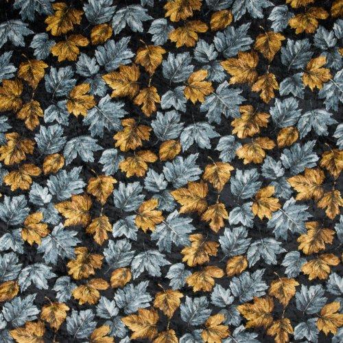 Stretch velours/fluweel in zwart met herfstbladeren