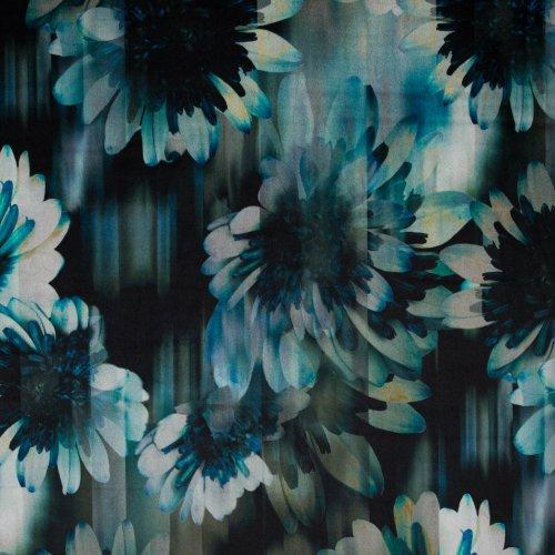 Stretch velours/fluweel met bloemen in groene/blauwe en petrol tinten