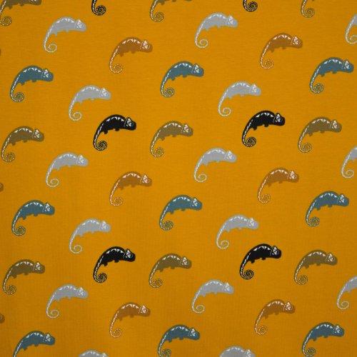 Tricot in katoen in oker met gekleurde Cameleons van het merk Stenzo