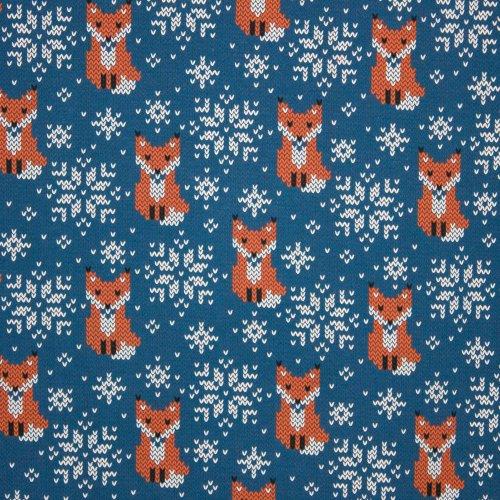 blauwe tricot met vosjes en sneeuwkristallen gevormed met v motiefjes
