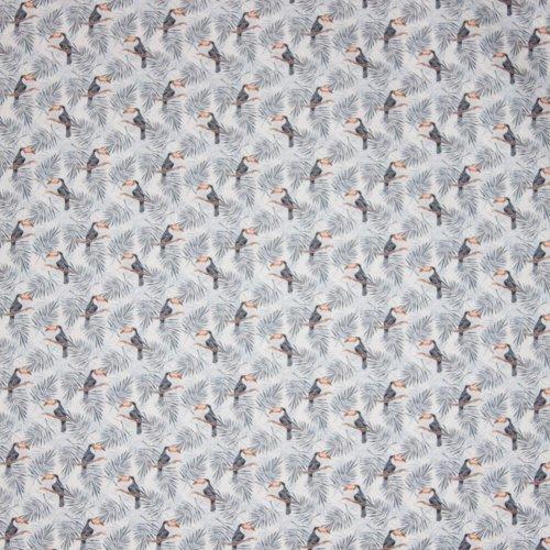 Witte katoen met pelikaanmotief