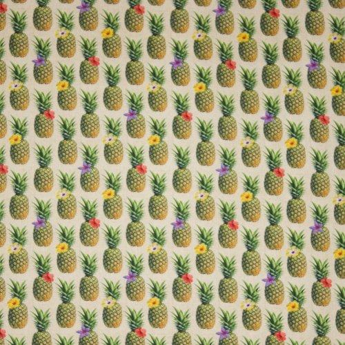 Ecru katoen met ananasmotief