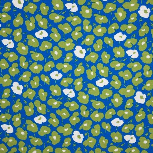 Blauwe tricot met abstract bloemenmotief