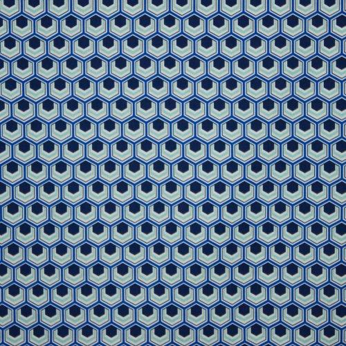 Blauwe katoen met abstract zeshoekjesmotief