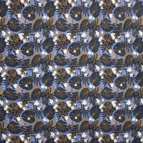 Blauwe elastische viscose met bloemenprint