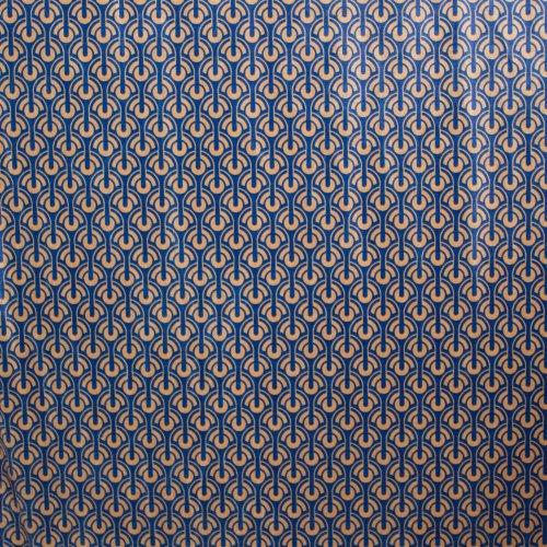 Soepele stretchfluweel met blauw-oker patroon