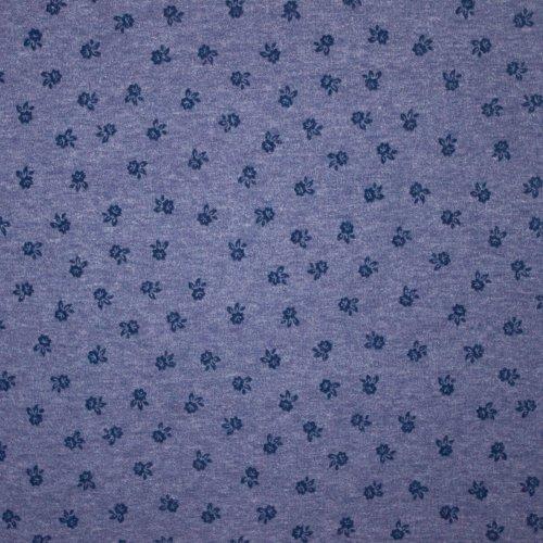 Blauw gebreide tricot met bloemenmotief