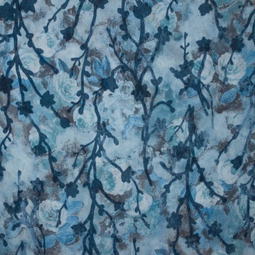 Blauwe doorzichtige viscose met bloemen