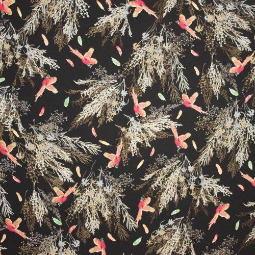Zwarte polyester met vogels en takken