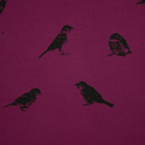 French Terry in aubergine met vogels geprint van Chat Chocolat
