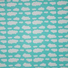 Turquoise tricot met witte wolken
