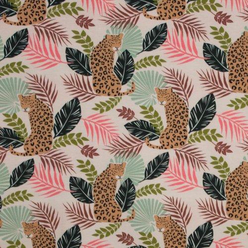 Soepele katoen tricot met luipaard- bladeren motief
