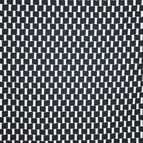 Viscose stretch zwart wit geometrisch motief