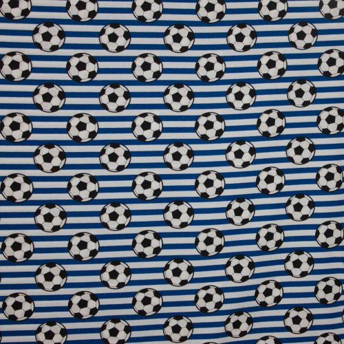 Wit-Blauw gestreept katoen voetbalprint