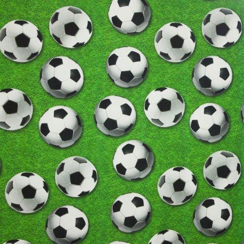 Katoen tricot gras- en voetbalmotief