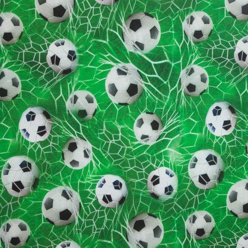 Katoen tricot goal- en voetbalmotief