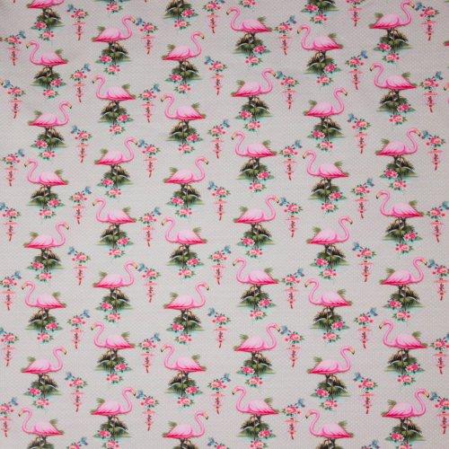 Biokatoen tricot grijs flamingo motief