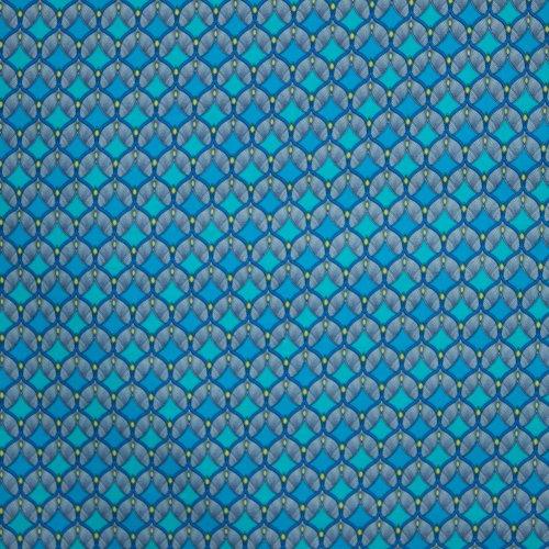 Blauwe katoen met abstract waaiermotief