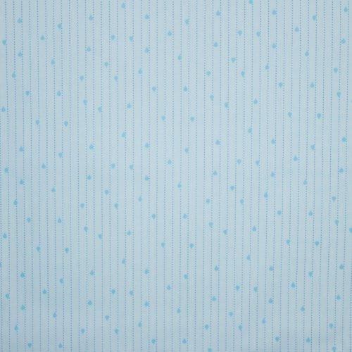 Licht blauwe katoen met druppeltjesmotief