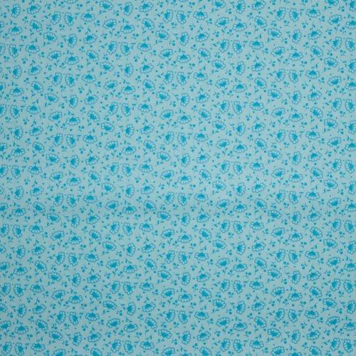 Licht blauwe katoen met bloemetjesmotief