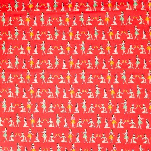 Rode katoen met hawaiiaan motief