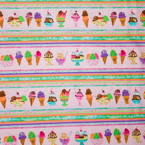 Roze katoen met ijsjes motief