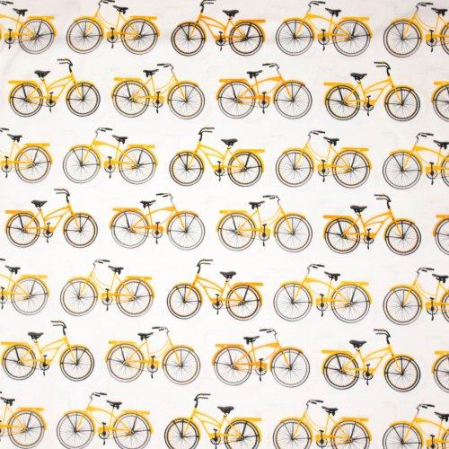 Witte katoen met fiets motief