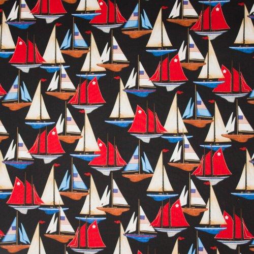 Zwarte katoen met zeilschepen motief