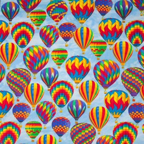 Blauwe katoen met luchtballon motief