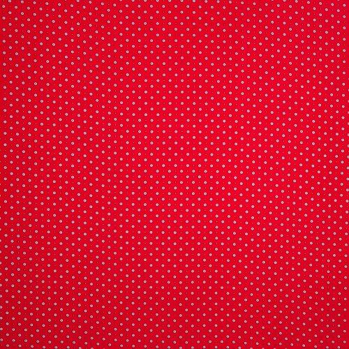Rode polyester met zwarte bloemetjes
