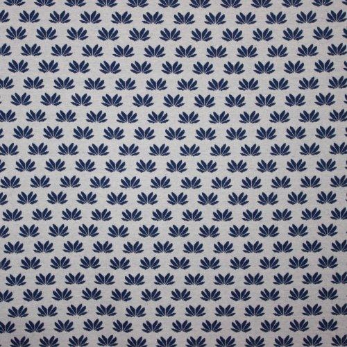Witte elastische jacquard met blauwe bloemenprint