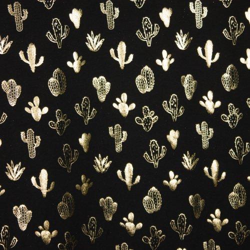 zwarte tricot met gouden cactusjes