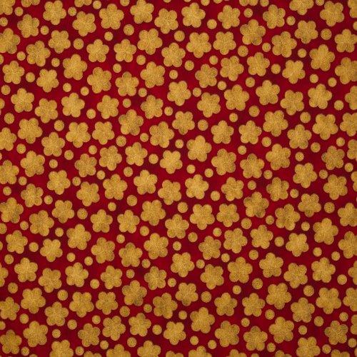 Rode katoen met gouden glitter bloemen van Robert Kaufman