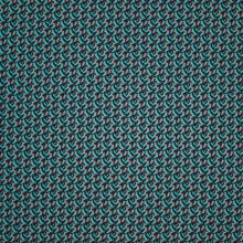 Petrol viscose met abstract motief in blauw en koraalrood